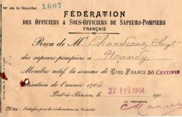 VP11.816 - Reçu De La Fédération Des Officiers & Sous - Officiers De Sapeurs - Pompiers De PORT A BINSON - Firemen