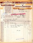 63- THIERS- RARE FACTURE ARTHUR SAUZEDDE- BIAT- MANUFACTURE COUTELLERIE- 108 AVENUE BERANGER- COUTEAUX-1938 - Old Professions
