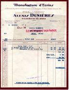 38- SAINT LAURENT DU PONT- RARE FACTURE ALEXIS DUNIERES- MANUFACTURE D' ECRINS ORFEVRERIE-BIJOUTERIE-COUTELLERIE-RASOIRS - Old Professions