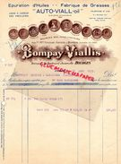 18- BOURGES- FACTURE BOMPAY VIALLIS-ASTIER- EPURATION HUILES-FABRIQUE GRAISSES AUTO VIALL OIL-19 BD. JURANVILLE-1933 - Old Professions