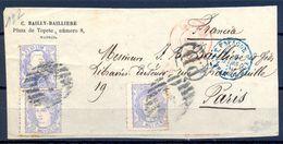 """1870 , MADRID - PARIS , FRONTAL CIRCULADO , MAT. PARRILLA CON NÚMERO , FECHADOR EN ROJO , TRÁNSITO , MARCA """" P.D. """" - Cartas"""