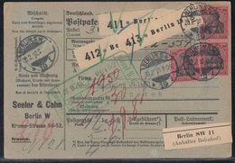 DR Paketkarte Mef Minr.3x 93I Berlin 20.2.10 Gel. In Schweiz Geprüft Jäschke BPP - Briefe U. Dokumente