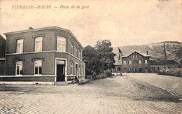 Flémalle-Haute - Place De La Gare (animée, Café, 1908) - Flémalle