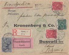 DR Brief R-Eilbote Mif Minr.196,4x 206,226 Leipzig 8.11.22 Gel.  In Schweiz Zensur Postüberwachungsstelle München - Deutschland