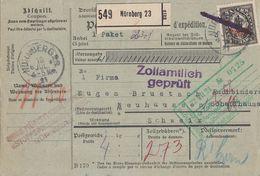 DR Paketkarte Mif Minr.133, 3x134 Nürnberg 19.7.21 Gel. In Schweiz - Deutschland