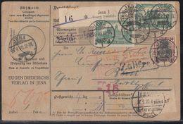 DR Paketkarte Mif Minr.91II, 6x 113 Jena 25.9.20 Gel. In Schweiz - Deutschland