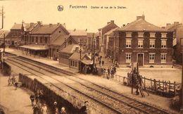 Farciennes - Station Et Rue De La Station (belle Animation, Edit Alb. Henin) - Farciennes