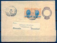 1898 BRASIL , FAJA POSTAL CIRCULADA A DÜSSELDORF , FRANQUEO COMPLEMENTARIO , LLEGADA - Briefe U. Dokumente