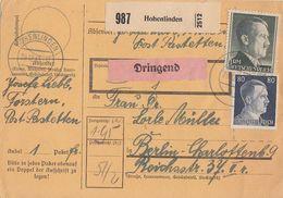 DR Paketkarte Mif Minr.789,798,799 Hohenlinden 29.12.43 Gel. Nach Berlin - Deutschland