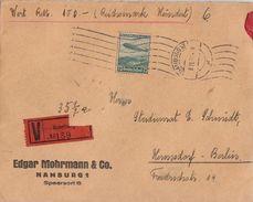 DR Wertbrief EF Minr.607 Hamburg 8.11.37 - Briefe U. Dokumente