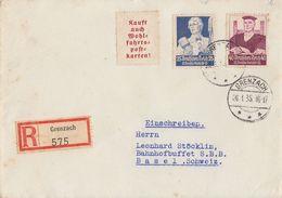 DR R-Brief Mif Minr.563,564 Grenzach 26.1.35 Gel. In Schweiz - Briefe U. Dokumente