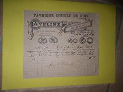 Facture 1897 - A VELINE Fabrique D'huile De Noix à ONZAIN ( Loir Et Cher - 41 ) - Noix - Alimentaire