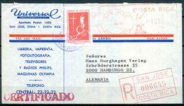1968 , COSTA RICA , SAN JOSÉ - HAMBURGO , SOBRE CERTIFICADO , CORREO AÉREO - Costa Rica
