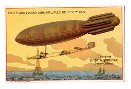 """Chromo Suisse, Chocolat Linth & Sprüngli, Aviatik, Avion, Flugzeug, Dirigéable, Zeppelin, Tour Eiffel, """"ville De Paris"""" - Chocolat"""
