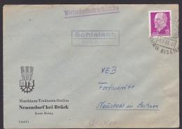 Schlalach Kreis Belzig MTS Neuendorf Bei Brück WDrs.1963 Spatelstempel Poststellenstempel - DDR