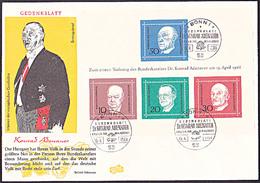 Konrad Adenauer Bundeskanzler Altkanzler BRD FDC Block 4 Germany - Beroemde Personen