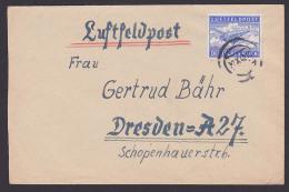 Luftfeldpost Germany Deutsches Reich Tante JU 52, Stummer Stempel 1942, Abs. Fp-Nr. L08470 BRESLAU - Posta Aerea