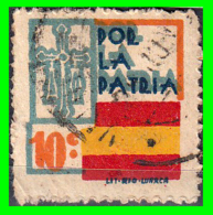 ESPAÑA SELLO GUERRA CIVIL LOCAL POR LA PATRIA - VALOR FACIAL 10 CÉNTIMOS - PIE DE IMPRENTA: LIT· - Impuestos De Guerra