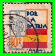 ESPAÑA SELLO GUERRA CIVIL.  LOCAL  POR LA PATRIA - VALOR FACIAL 10 CÉNTIMOS - PIE DE IMPRENTA: LIT· - Impuestos De Guerra