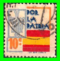 ESPAÑA SELLO GUERRA CIVIL LOCAL  POR LA PATRIA - VALOR FACIAL 10 CÉNTIMOS - PIE DE IMPRENTA: LIT RIO LUARCA - Impuestos De Guerra