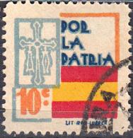 ESPAÑA SELLO GUERRA CIVIL.  LOCAL  POR LA PATRIA - VALOR FACIAL 10 CÉNTIMOS - PIE DE IMPRENTA: LIT RIO LUARCA - Impuestos De Guerra