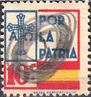 ESPAÑA SELLO GUERRA CIVIL LOCAL  POR LA PATRIA - VALOR FACIAL 10 CÉNTIMOS - PIE DE IMPRENTA: ARTES GRAFICAS GIJON - Impuestos De Guerra