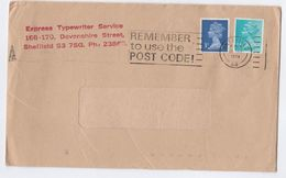 1974 GB Express Typewriter Service Sheffield COVER Slogan Pmk Remember To Use The Post Code - 1952-.... (Elisabeth II.)