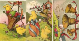 3-CPA-1910-JOYEUSES PAQUES-OEUFS -POUSSINS-EditeursNARBO Toulouse-TBE-NEUVE - Easter