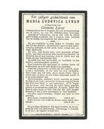 766. Maria L. LYNEN  Echtg. C. Leroy - Onderprefecte Der H.Familie Lid Broederschap H.Lucia - HELCHTEREN 1853 / 1911 - Images Religieuses