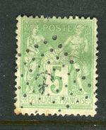 Yvert N° 102 Cachet Ancre - 1876-1898 Sage (Type II)