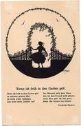 SILHOUETTE POSTAL CARD. Wenn Ich Früh In Den Garten Geh' By Elsbeth Forck - Silhouette - Scissor-type