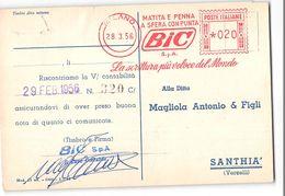 15693 TIMBRO MECCANICO ROSSO - BIC MILANO X SANTHIA - 1946-60: Marcofilie