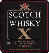 "SCOTCH WHISKY  "" X "" - Barton Distilling LTD Alexandria SCOTLAND - Whisky"