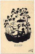 SILHOUETTE POSTAL CARD. Lebe Stets Zufrieden... By Paul Schrempel - Silhouette - Scissor-type