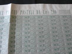 1927-32....FOGLIO INTEGRO DI 100 FRANCOBOLLI  DEI PACCHI POSTALI DA LIRE 2... CON AQUILA SABAUDA E  FASCI AL CENTRO - Paquetes Postales