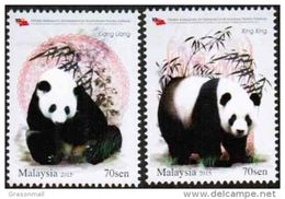 Malaysia 2015 Panda Conservation Project Set Of 2 MNH - Malaysia (1964-...)