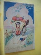 B14 2612 CPSM PM 1948 - JOYEUSES PAQUES - FILLETTE SUR ATTELAGE D'OEUFS DE PAQUES  (+ DE 20.000 CARTES MOINS 1 €) - Easter
