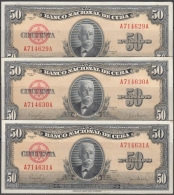 1950-BK-60 CUBA 50$ 1950 UNC CALIXTO GARCIA. 3 CONSECUTIVE. - Cuba