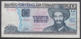 2014-BK-59 CUBA 20$ 2014 CAMILO CIENFUEGOS REPLACEMENT REEMPLAZO SERIE CZ USED - Cuba