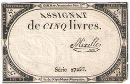Assignat De 5 Livres/Mixelles / 10 Brumaire An 2 De La République Française     BILL193 - Assignats