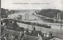 94)  VILLENEUVE SAINT GEORGES  - Le Pont Suspendu  Vue Sur  Ablon  (  Train  ) - Villeneuve Saint Georges
