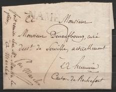 """L.datée 1817 De NAMUR Pour Le Curé De HUMAIN Canton De Rochefort + Griffe NAME + Man. """"Par Marche"""" - 1815-1830 (Dutch Period)"""