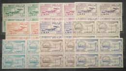 E11AK Lebanon 1958 Mi. 628-636 Complete Set 9v  - Plane Beirut Airport & Electrecity Power Station - MNH - Blks/4 - Lebanon
