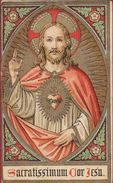 Heiligenprentje Image Pieuse Santini Jesus Christ Holy Heart Litho Sacre Coeur Heilig Hart Gouddruk Goldprint Christus - Santini