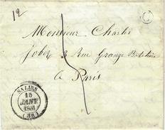 1851- Lettre De SALINS ( Jura ) Cad T14 Taxe 5 D. + C Boite Rurale De Montorge  Pour Paris - 1849-1876: Periodo Clásico