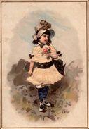 1 Chromos Sans Marque - Fillette Avec Bouquet De Fleurs - Gauffrée Des Deux Cotés - R/V - Bill-811 - - Andere