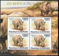 Burundi 2011 MNH SS, White Rhino, Square-lipped Rhino - Rhinozerosse
