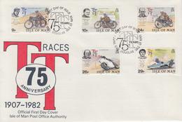 Enveloppe  FDC  1er  Jour    ILE   DE   MAN    75éme  Anniversaire  Des  Courses  De   Motos   TOURIST  TROPHY   1982 - Moto