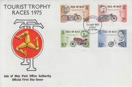 Enveloppe  FDC  1er  Jour    ILE   DE   MAN    Vainqueurs  Des  Courses  De   Motos   TOURIST  TROPHY   1975 - Moto
