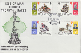 Enveloppe  FDC  1er  Jour    ILE  DE  MAN    Vainqueurs  Des  Courses  De   Motos   TOURIST  TROPHY   1974 - Moto